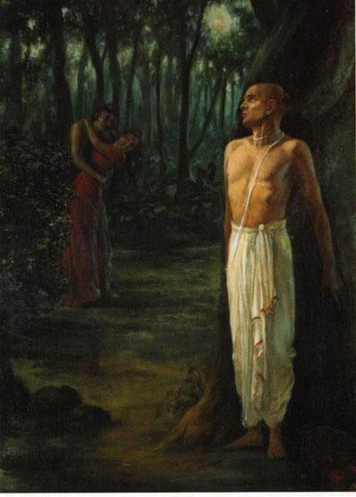 Аджамила увидел на дороге распутную женщину в объятиях шудры