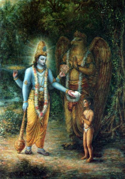 Господь Вишну приходит к Дхруве