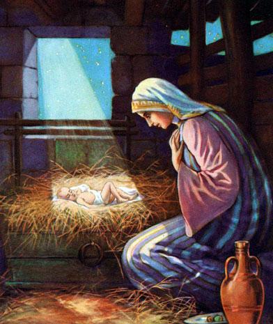 Мария возле маленького Иисуса
