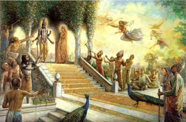 Они верно служат Господу, неизменно оставаясь в сознании Кришны