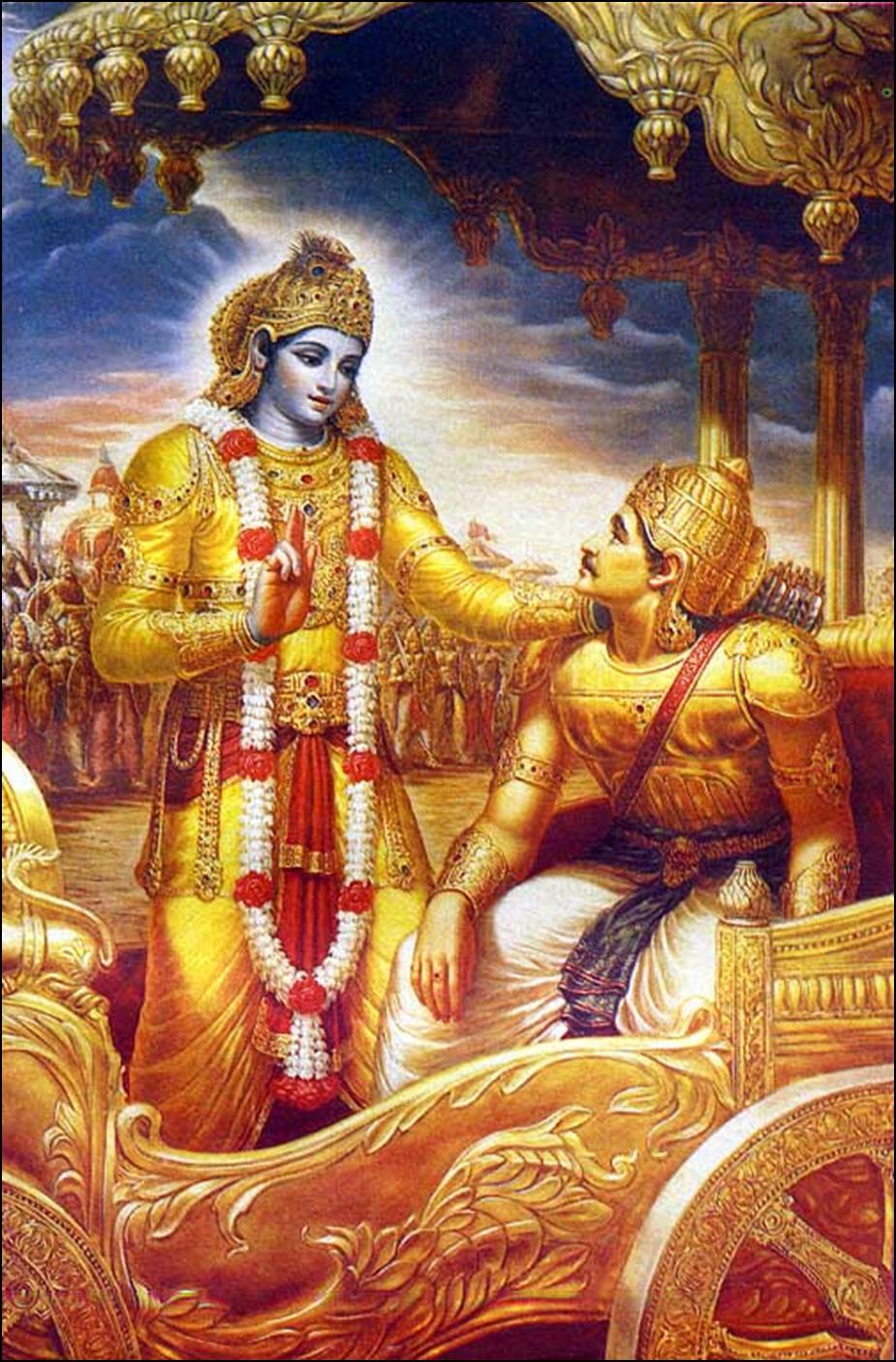 Кришна говорит с Арджуной